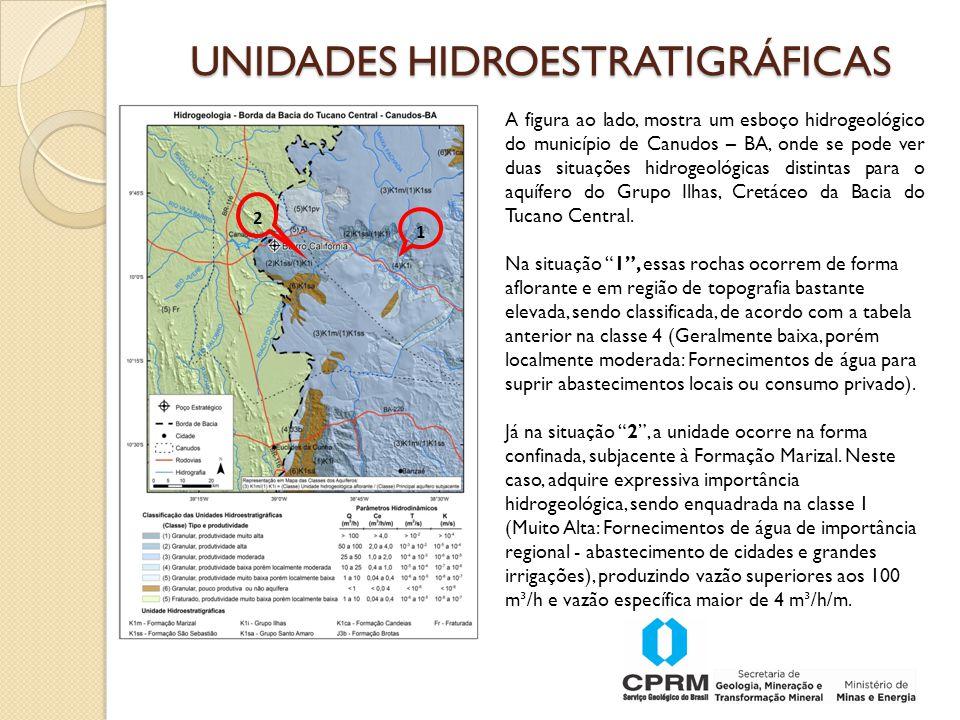 1 2 A figura ao lado, mostra um esboço hidrogeológico do município de Canudos – BA, onde se pode ver duas situações hidrogeológicas distintas para o aquífero do Grupo Ilhas, Cretáceo da Bacia do Tucano Central.
