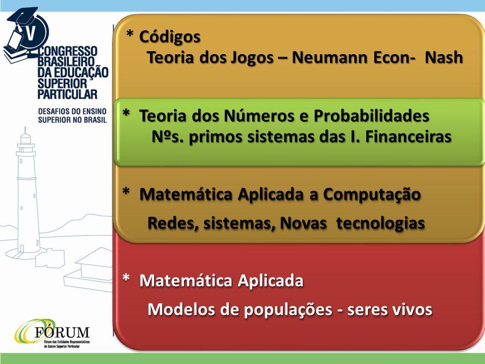 Códigos Teoria dos Jogos – Neumann Econ- Nash * Códigos Teoria dos Jogos – Neumann Econ- Nash * Teoria dos Números e Probabilidades Nºs.