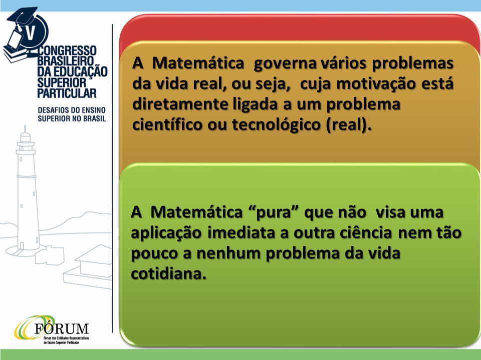 A Matemática governa vários problemas da vida real, ou seja, cuja motivação está diretamente ligada a um problema científico ou tecnológico (real).