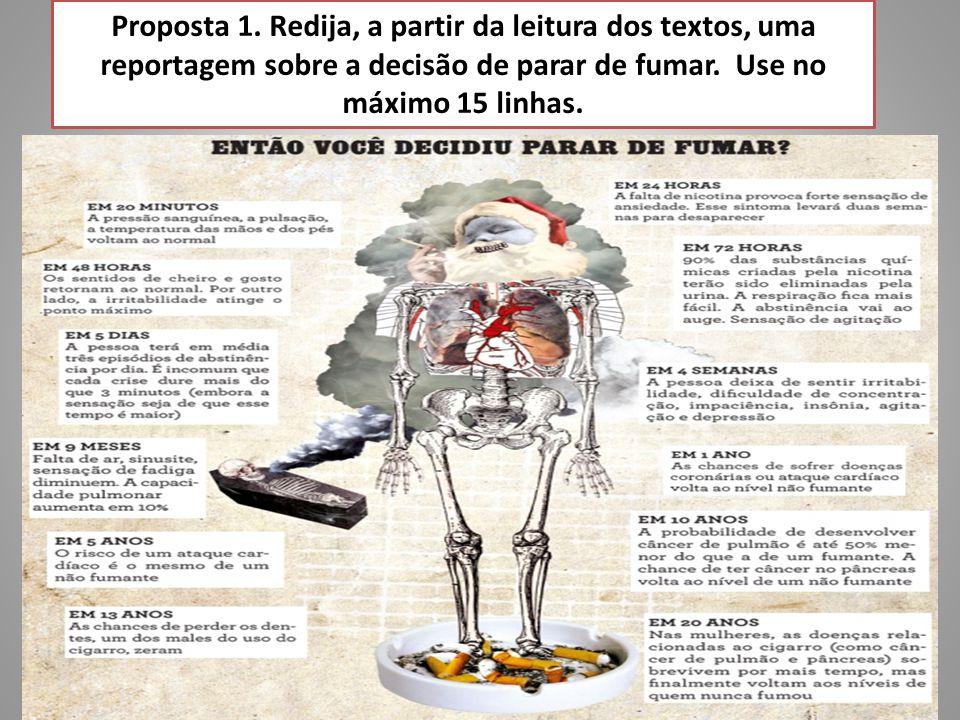 Texto 2 Tabagismo no Brasil: Dados do IBGE Pesquisa Especial de Tabagismo (Petab) realizada pelo IBGE em parceria com o Ministério da Saúde, com atuação técnica do Instituto Nacional do Câncer (dados de 2008): - 17,1% da população com 15 anos ou mais são usuários de produtos derivados de tabaco, 85,4% delas diariamente.