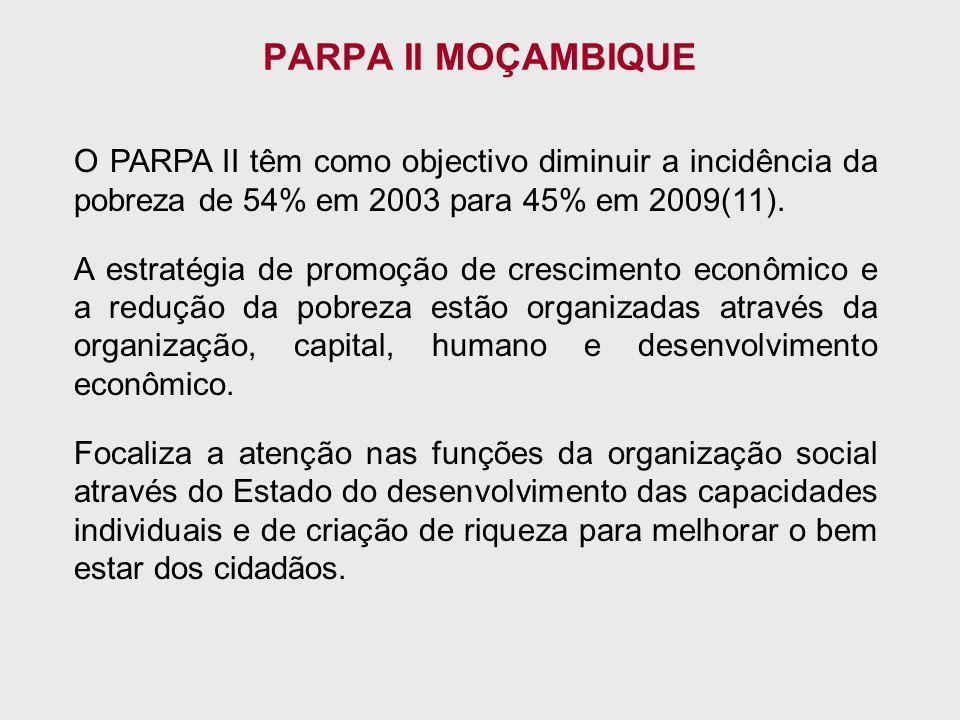 O PARPA II têm como objectivo diminuir a incidência da pobreza de 54% em 2003 para 45% em 2009(11).