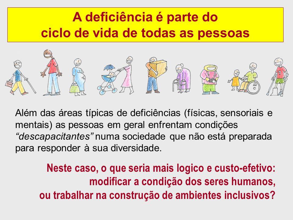 A deficiência é parte do ciclo de vida de todas as pessoas Além das áreas típicas de deficiências (físicas, sensoriais e mentais) as pessoas em geral enfrentam condições descapacitantes numa sociedade que não está preparada para responder à sua diversidade.