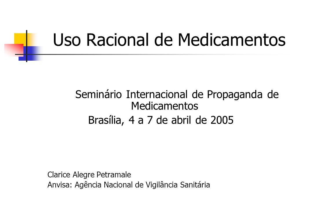Uso Racional de Medicamentos Seminário Internacional de Propaganda de Medicamentos Brasília, 4 a 7 de abril de 2005 Clarice Alegre Petramale Anvisa: Agência Nacional de Vigilância Sanitária