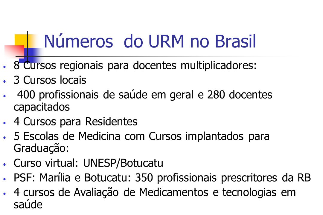 Números do URM no Brasil 8 Cursos regionais para docentes multiplicadores: 3 Cursos locais 400 profissionais de saúde em geral e 280 docentes capacitados 4 Cursos para Residentes 5 Escolas de Medicina com Cursos implantados para Graduação: Curso virtual: UNESP/Botucatu PSF: Marília e Botucatu: 350 profissionais prescritores da RB 4 cursos de Avaliação de Medicamentos e tecnologias em saúde