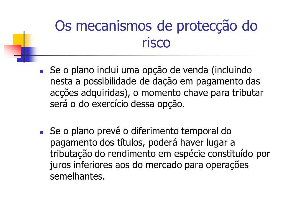 Os mecanismos de protecção do risco Se o plano inclui uma opção de venda (incluindo nesta a possibilidade de dação em pagamento das acções adquiridas)