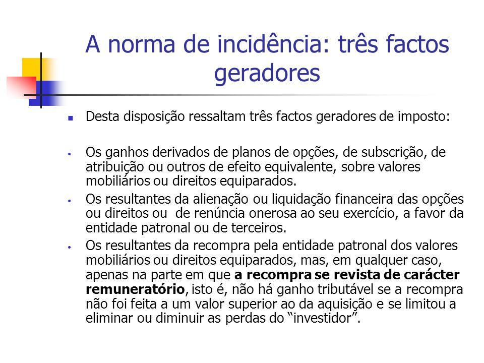 A norma de incidência: três factos geradores Desta disposição ressaltam três factos geradores de imposto: Os ganhos derivados de planos de opções, de