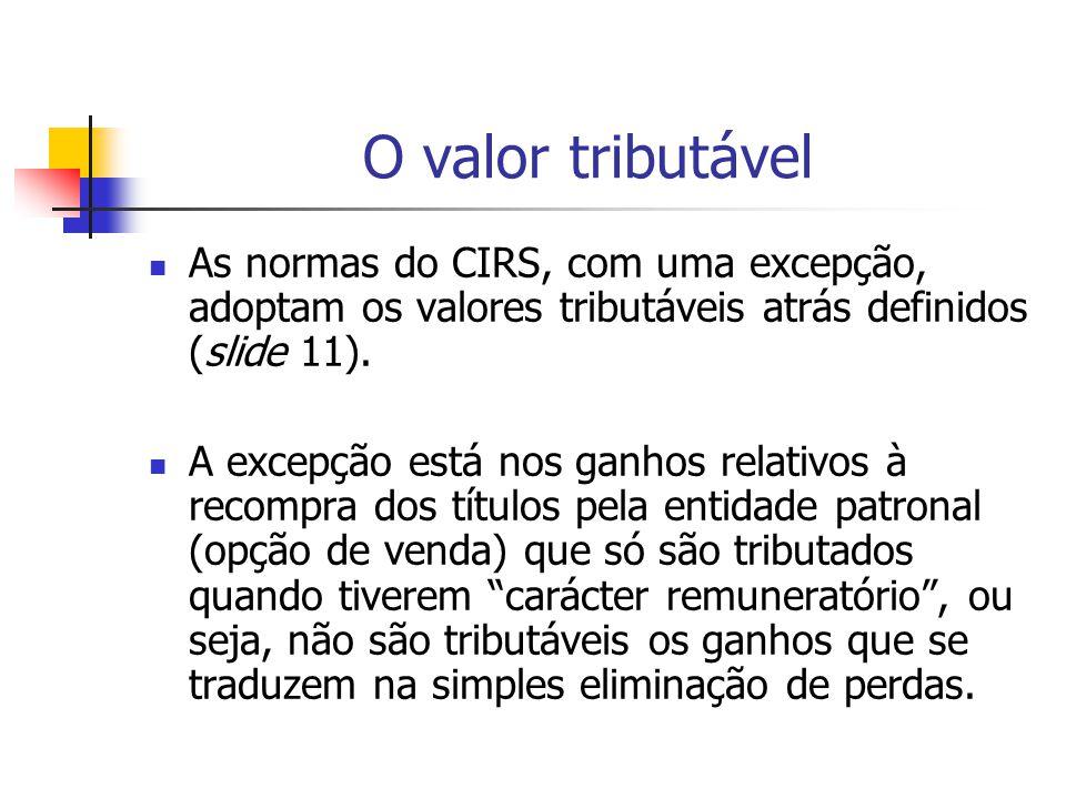 O valor tributável As normas do CIRS, com uma excepção, adoptam os valores tributáveis atrás definidos (slide 11). A excepção está nos ganhos relativo