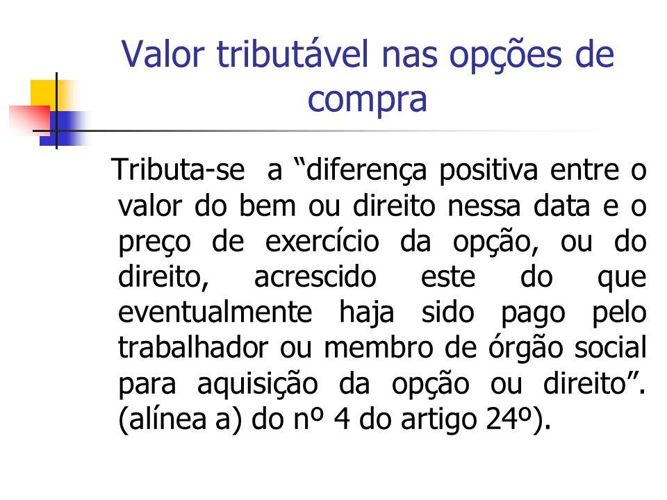 """Valor tributável nas opções de compra Tributa-se a """"diferença positiva entre o valor do bem ou direito nessa data e o preço de exercício da opção, ou"""