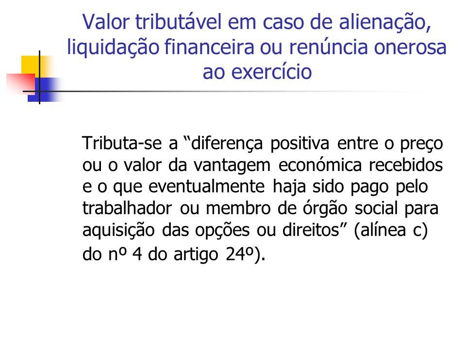 """Valor tributável em caso de alienação, liquidação financeira ou renúncia onerosa ao exercício Tributa-se a """"diferença positiva entre o preço ou o valo"""