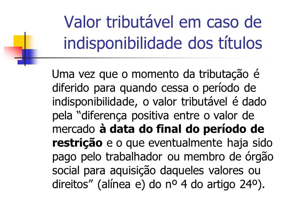 Valor tributável em caso de indisponibilidade dos títulos Uma vez que o momento da tributação é diferido para quando cessa o período de indisponibilid