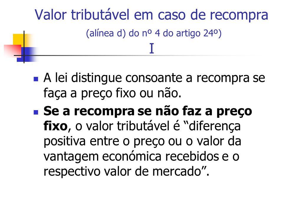 Valor tributável em caso de recompra (alínea d) do nº 4 do artigo 24º) I A lei distingue consoante a recompra se faça a preço fixo ou não. Se a recomp