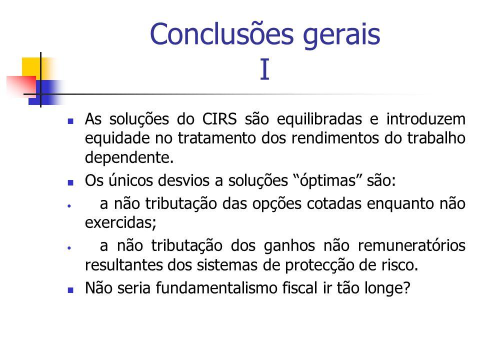 Conclusões gerais I As soluções do CIRS são equilibradas e introduzem equidade no tratamento dos rendimentos do trabalho dependente. Os únicos desvios