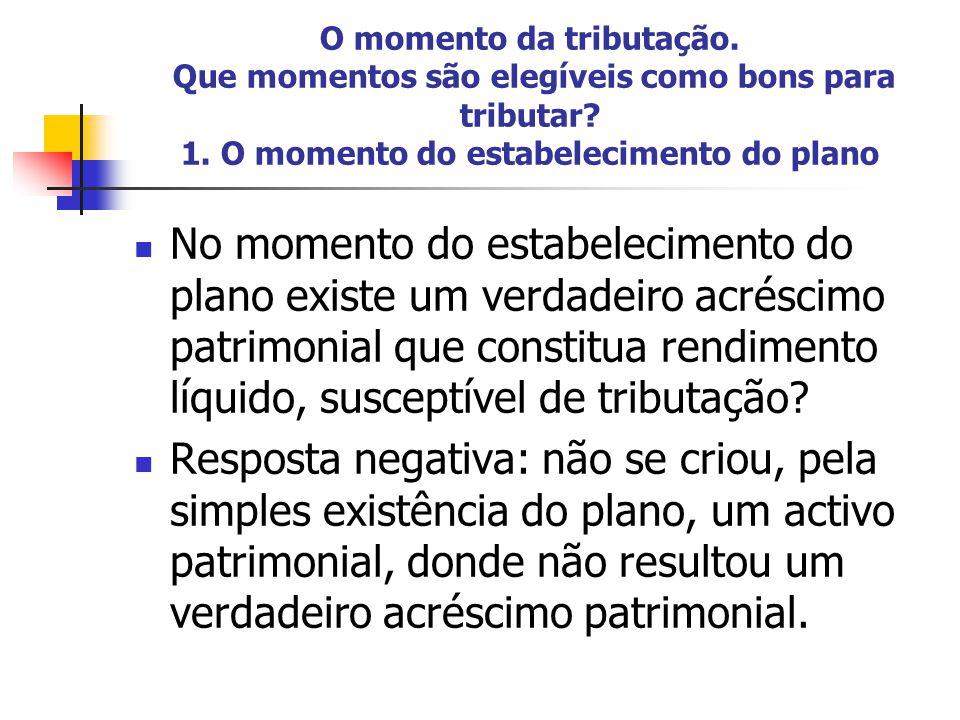 O momento da tributação Nas opções, o momento da tributação é o do exercício da opção (alínea a) do nº 4 do art.