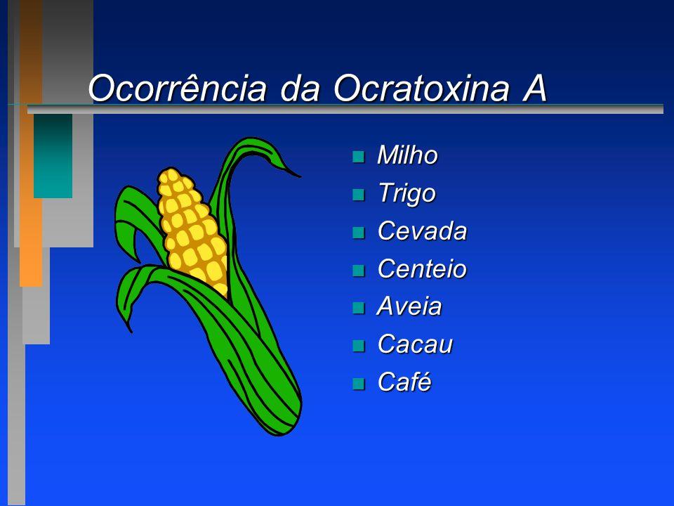 Ocorrência da Ocratoxina A n Milho n Trigo n Cevada n Centeio n Aveia n Cacau n Café