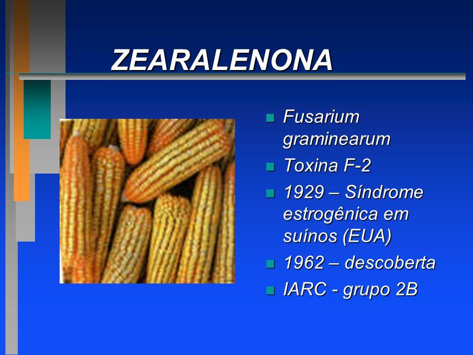 ZEARALENONA n Fusarium graminearum n Toxina F-2 n 1929 – Síndrome estrogênica em suínos (EUA) n 1962 – descoberta n IARC - grupo 2B