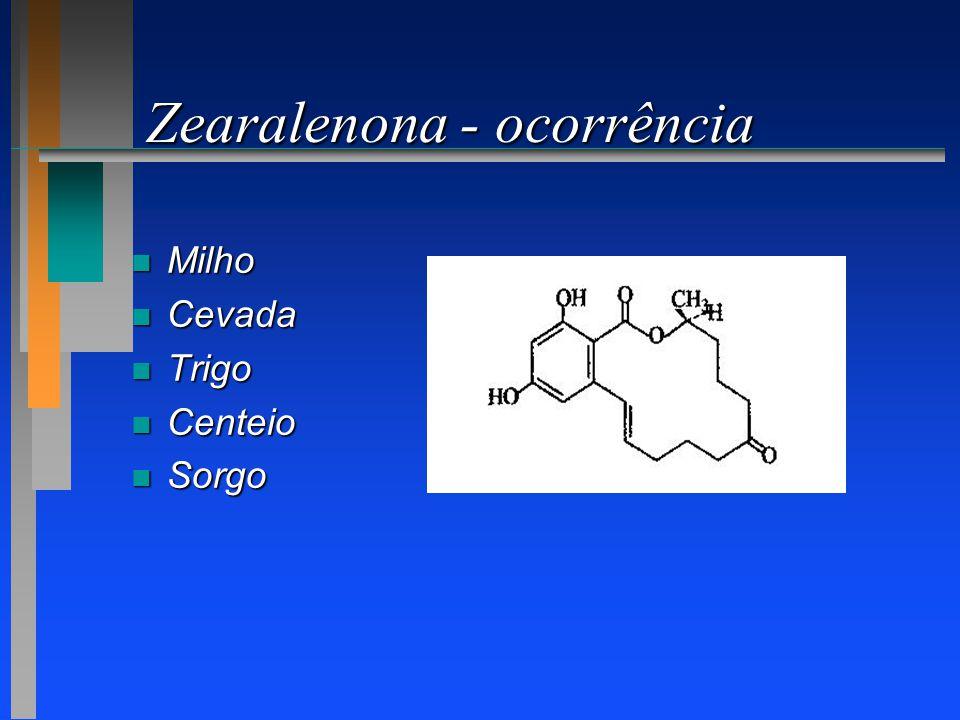 Zearalenona - ocorrência n Milho n Cevada n Trigo n Centeio n Sorgo