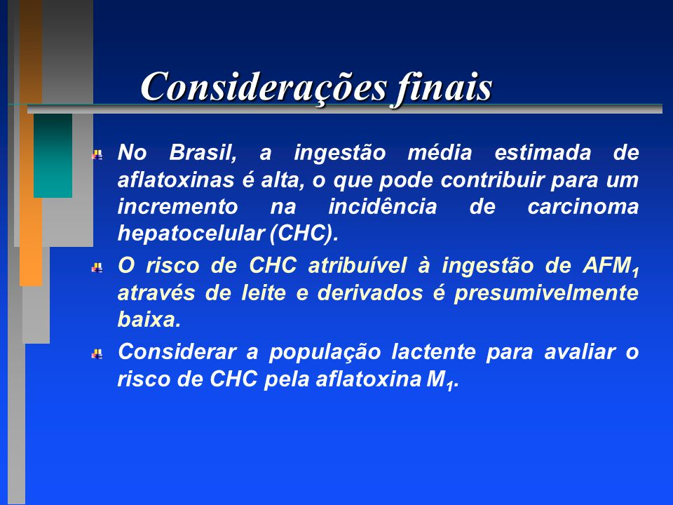 Considerações finais No Brasil, a ingestão média estimada de aflatoxinas é alta, o que pode contribuir para um incremento na incidência de carcinoma h