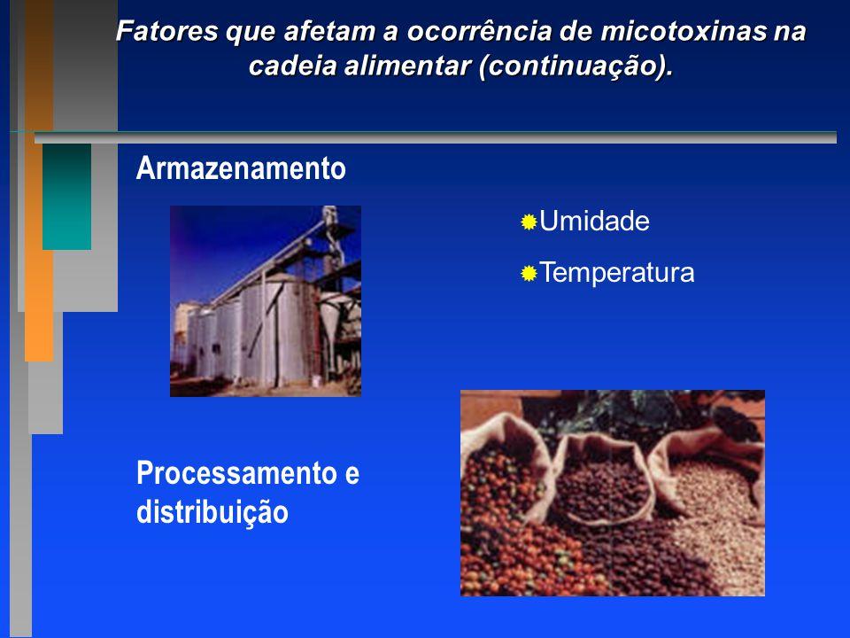 Fatores que afetam a ocorrência de micotoxinas na cadeia alimentar (continuação). Armazenamento   Umidade   Temperatura Processamento e distribuiç