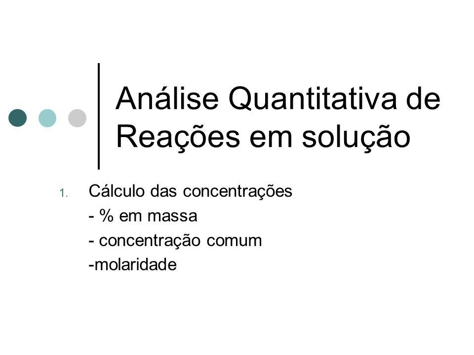 Análise Quantitativa de Reações em solução 1.
