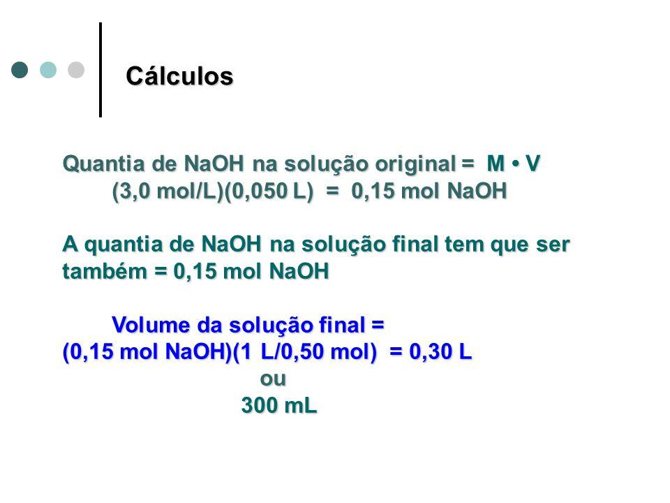 Quantia de NaOH na solução original = M V (3,0 mol/L)(0,050 L) = 0,15 mol NaOH (3,0 mol/L)(0,050 L) = 0,15 mol NaOH A quantia de NaOH na solução final tem que ser também = 0,15 mol NaOH Volume da solução final = Volume da solução final = (0,15 mol NaOH)(1 L/0,50 mol) = 0,30 L ou ou 300 mL 300 mL Cálculos