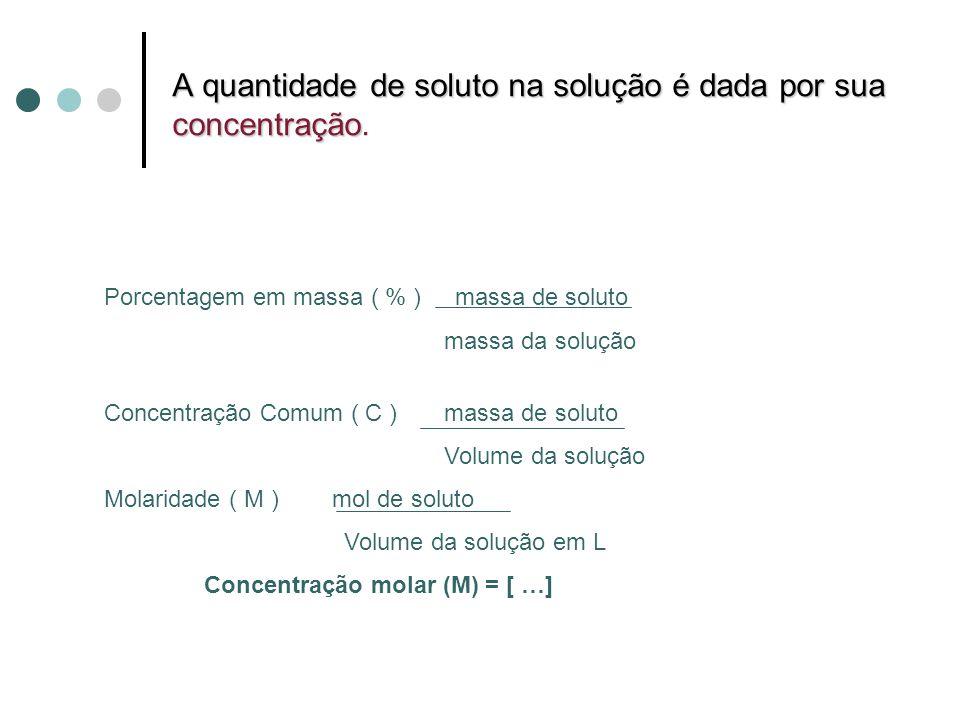 A quantidade de soluto na solução é dada por sua concentração A quantidade de soluto na solução é dada por sua concentração.