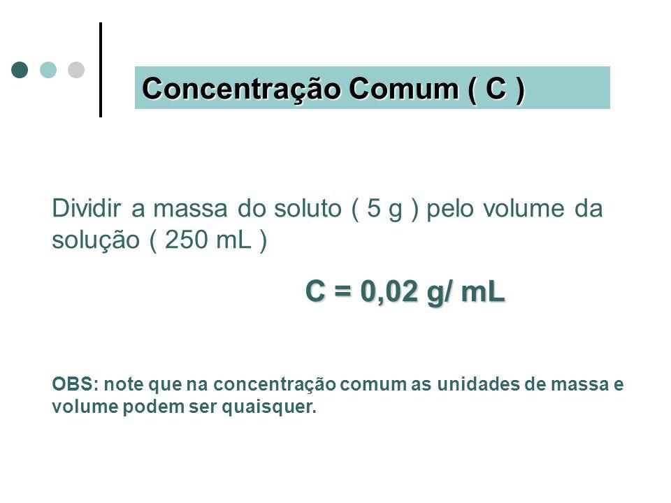 Concentração Comum ( C ) Dividir a massa do soluto ( 5 g ) pelo volume da solução ( 250 mL ) C = 0,02 g/ mL OBS: note que na concentração comum as unidades de massa e volume podem ser quaisquer.