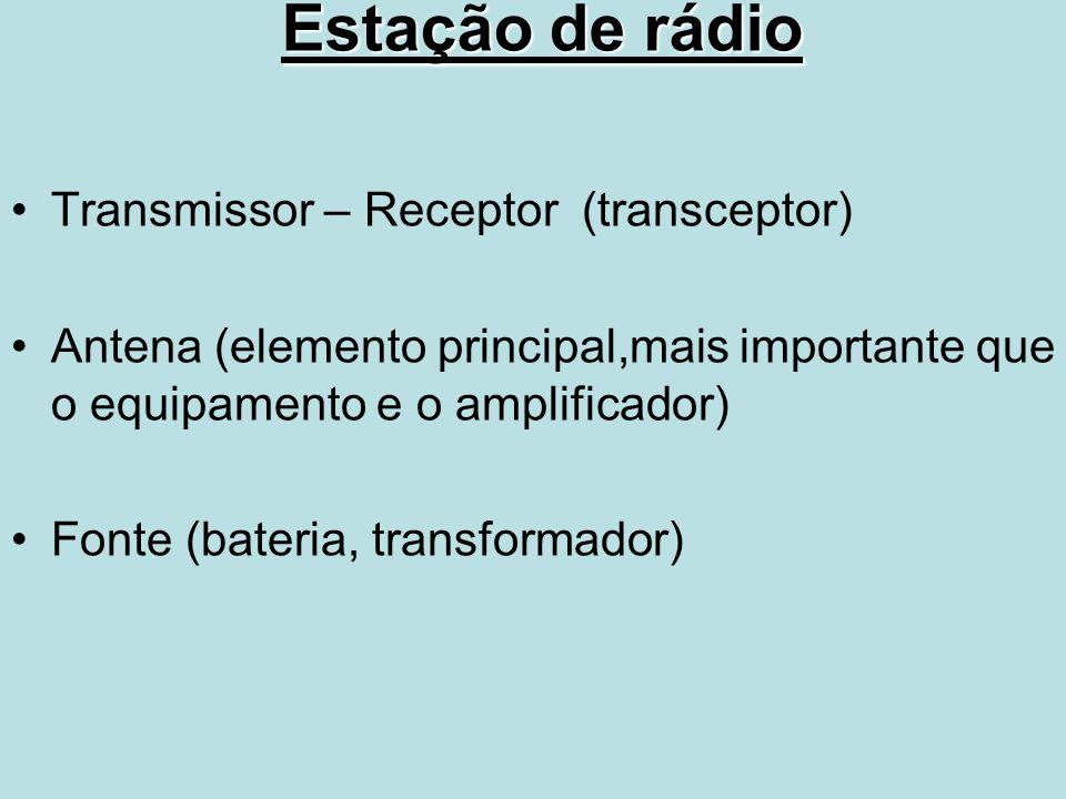 Estação de rádio Transmissor – Receptor (transceptor) Antena (elemento principal,mais importante que o equipamento e o amplificador) Fonte (bateria, t