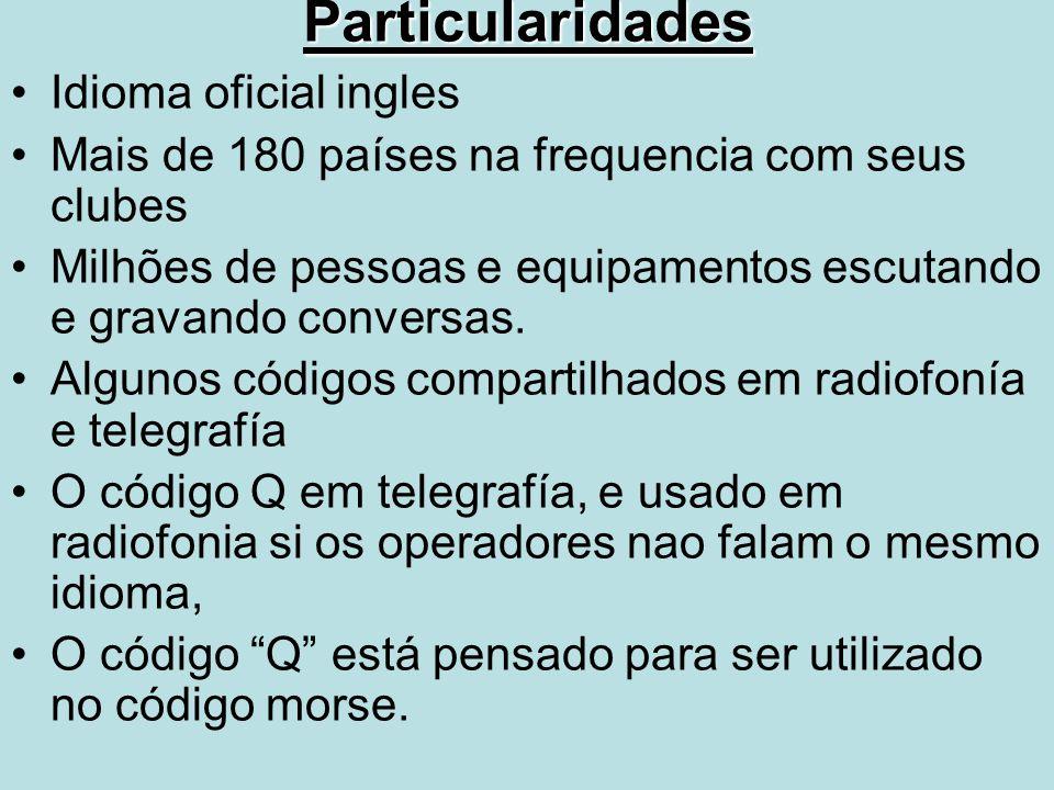 Particularidades Idioma oficial ingles Mais de 180 países na frequencia com seus clubes Milhões de pessoas e equipamentos escutando e gravando convers