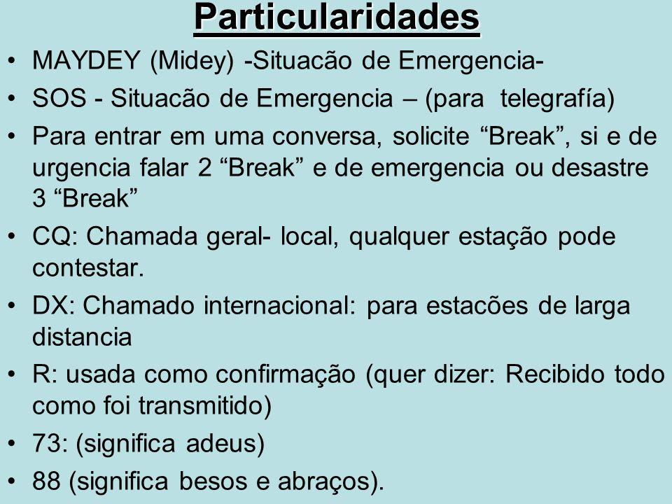 "MAYDEY (Midey) -Situacão de Emergencia- SOS - Situacão de Emergencia – (para telegrafía) Para entrar em uma conversa, solicite ""Break"", si e de urgenc"