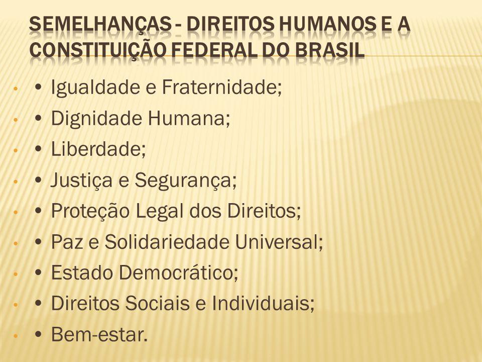 Igualdade e Fraternidade; Dignidade Humana; Liberdade; Justiça e Segurança; Proteção Legal dos Direitos; Paz e Solidariedade Universal; Estado Democrá