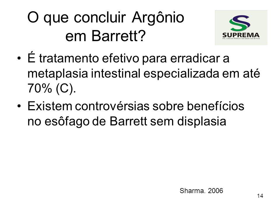 14 O que concluir Argônio em Barrett.
