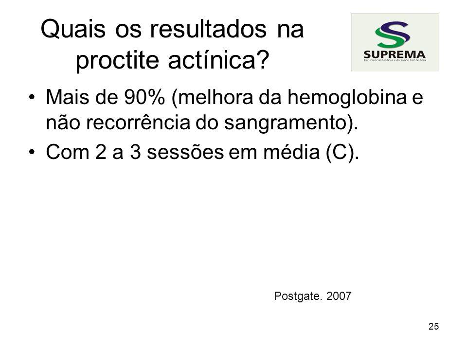 25 Quais os resultados na proctite actínica.