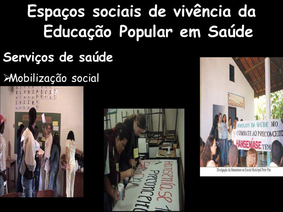 Espaços sociais de vivência da Educação Popular em Saúde Serviços de saúde  Mobilização social