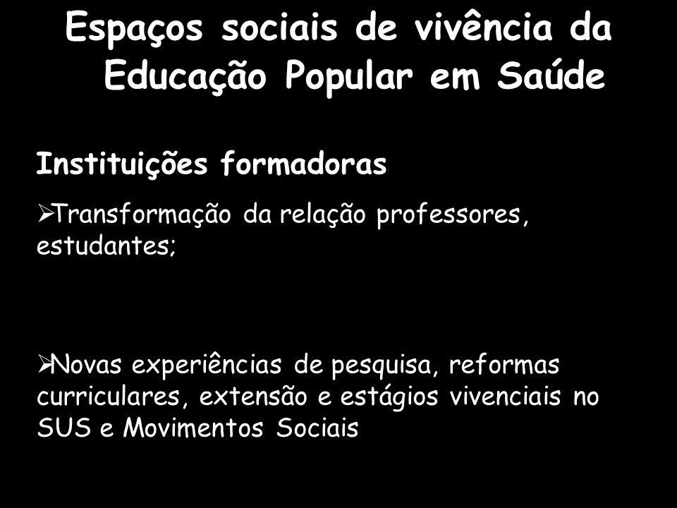 Espaços sociais de vivência da Educação Popular em Saúde Instituições formadoras  Transformação da relação professores, estudantes;  Novas experiênc