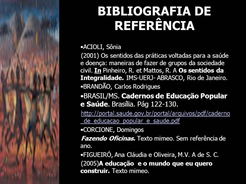 BIBLIOGRAFIA DE REFERÊNCIA ACIOLI, Sônia (2001) Os sentidos das práticas voltadas para a saúde e doença: maneiras de fazer de grupos da sociedade civil.