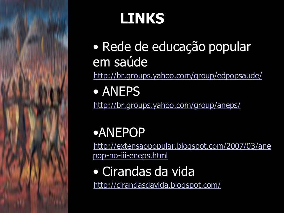 Rede de educação popular em saúde http://br.groups.yahoo.com/group/edpopsaude/ ANEPS http://br.groups.yahoo.com/group/aneps/ ANEPOP http://extensaopopular.blogspot.com/2007/03/ane pop-no-iii-eneps.html Cirandas da vida http://cirandasdavida.blogspot.com/ LINKS