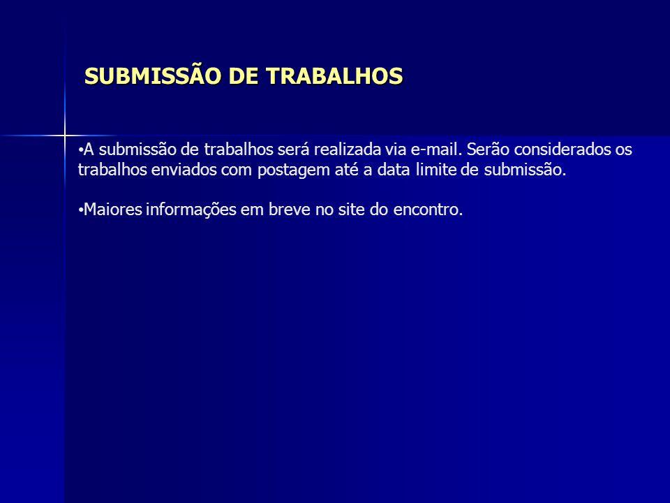 SUBMISSÃO DE TRABALHOS A submissão de trabalhos será realizada via e-mail. Serão considerados os trabalhos enviados com postagem até a data limite de