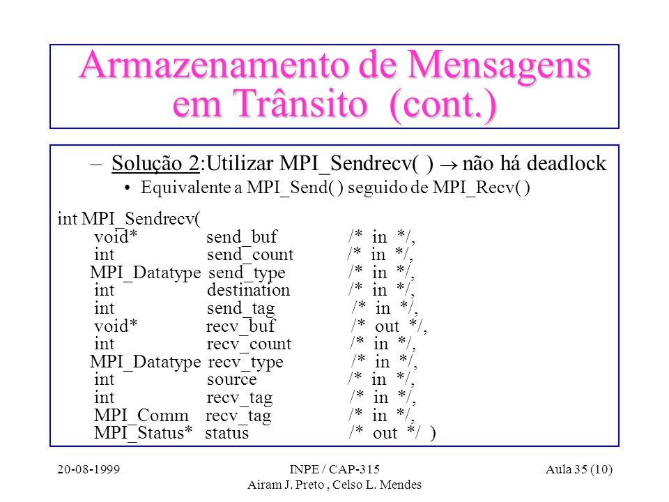 20-08-1999INPE / CAP-315 Airam J. Preto, Celso L. Mendes Aula 35 (10) Armazenamento de Mensagens em Trânsito (cont.) –Solução 2:Utilizar MPI_Sendrecv(