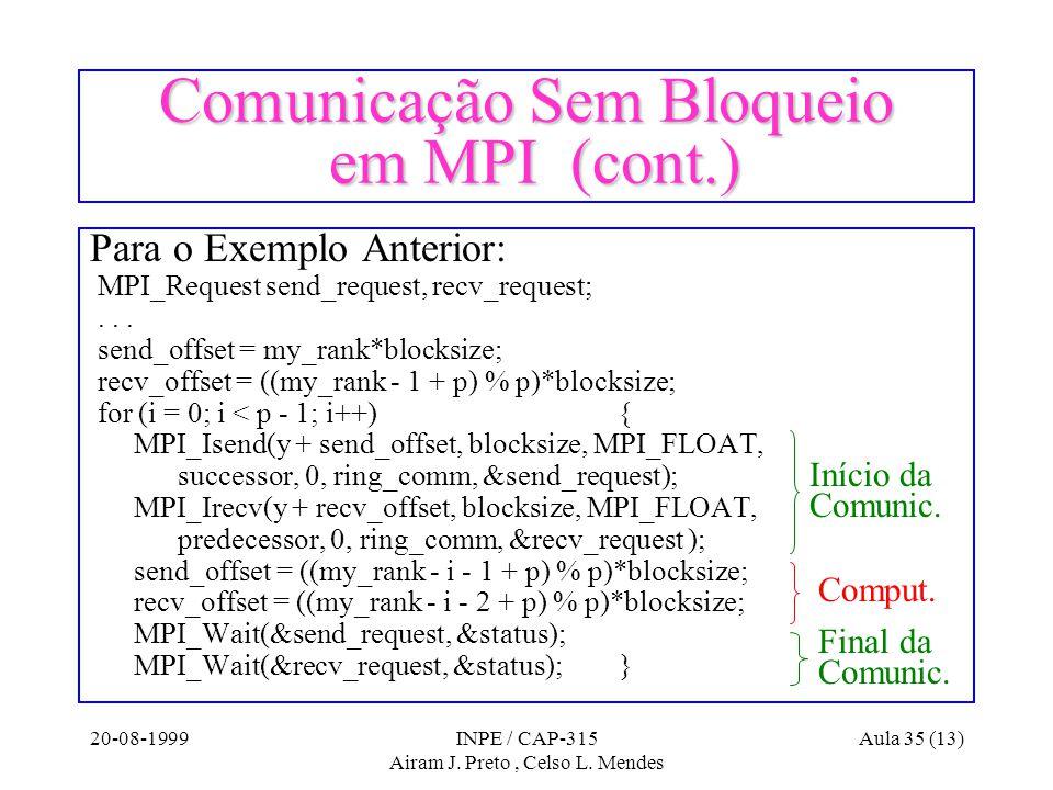 20-08-1999INPE / CAP-315 Airam J. Preto, Celso L. Mendes Aula 35 (13) Comunicação Sem Bloqueio em MPI (cont.) Para o Exemplo Anterior: MPI_Request sen
