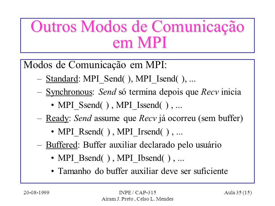 20-08-1999INPE / CAP-315 Airam J. Preto, Celso L. Mendes Aula 35 (15) Outros Modos de Comunicação em MPI Modos de Comunicação em MPI: –Standard: MPI_S