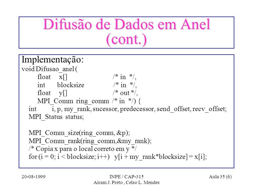 20-08-1999INPE / CAP-315 Airam J. Preto, Celso L. Mendes Aula 35 (6) Difusão de Dados em Anel (cont.) Implementação: void Difusao_anel ( float x[] /*