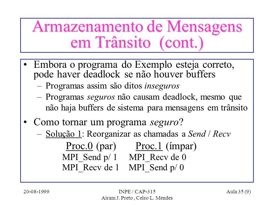 20-08-1999INPE / CAP-315 Airam J. Preto, Celso L. Mendes Aula 35 (9) Armazenamento de Mensagens em Trânsito (cont.) Embora o programa do Exemplo estej