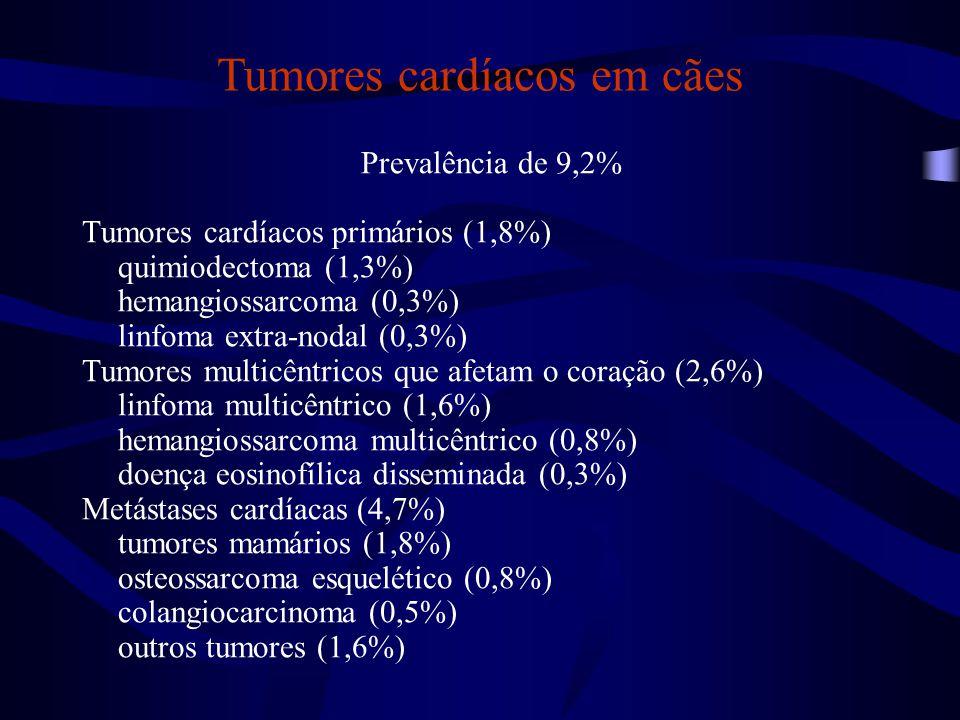 Prevalência de 9,2% Tumores cardíacos primários (1,8%) quimiodectoma (1,3%) hemangiossarcoma (0,3%) linfoma extra-nodal (0,3%) Tumores multicêntricos que afetam o coração (2,6%) linfoma multicêntrico (1,6%) hemangiossarcoma multicêntrico (0,8%) doença eosinofílica disseminada (0,3%) Metástases cardíacas (4,7%) tumores mamários (1,8%) osteossarcoma esquelético (0,8%) colangiocarcinoma (0,5%) outros tumores (1,6%) Tumores cardíacos em cães