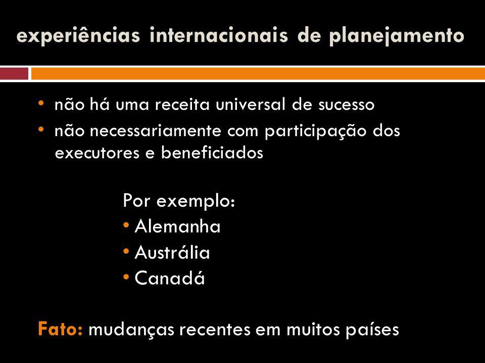 experiências internacionais de planejamento não há uma receita universal de sucesso não necessariamente com participação dos executores e beneficiados Por exemplo: Alemanha Austrália Canadá Fato: mudanças recentes em muitos países