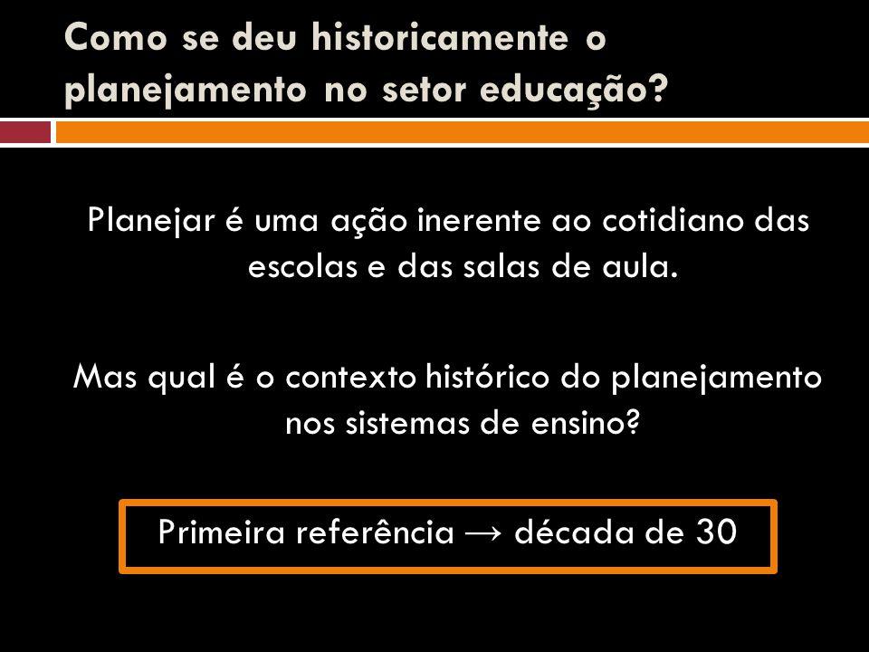 Como se deu historicamente o planejamento no setor educação? Planejar é uma ação inerente ao cotidiano das escolas e das salas de aula. Mas qual é o c