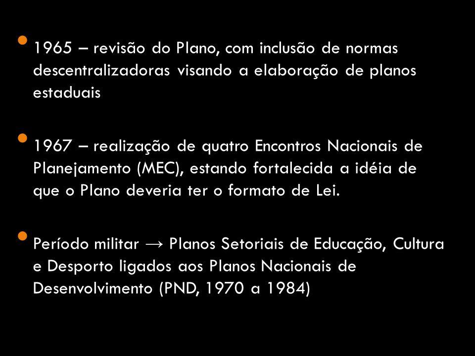 1965 – revisão do Plano, com inclusão de normas descentralizadoras visando a elaboração de planos estaduais 1967 – realização de quatro Encontros Nacionais de Planejamento (MEC), estando fortalecida a idéia de que o Plano deveria ter o formato de Lei.