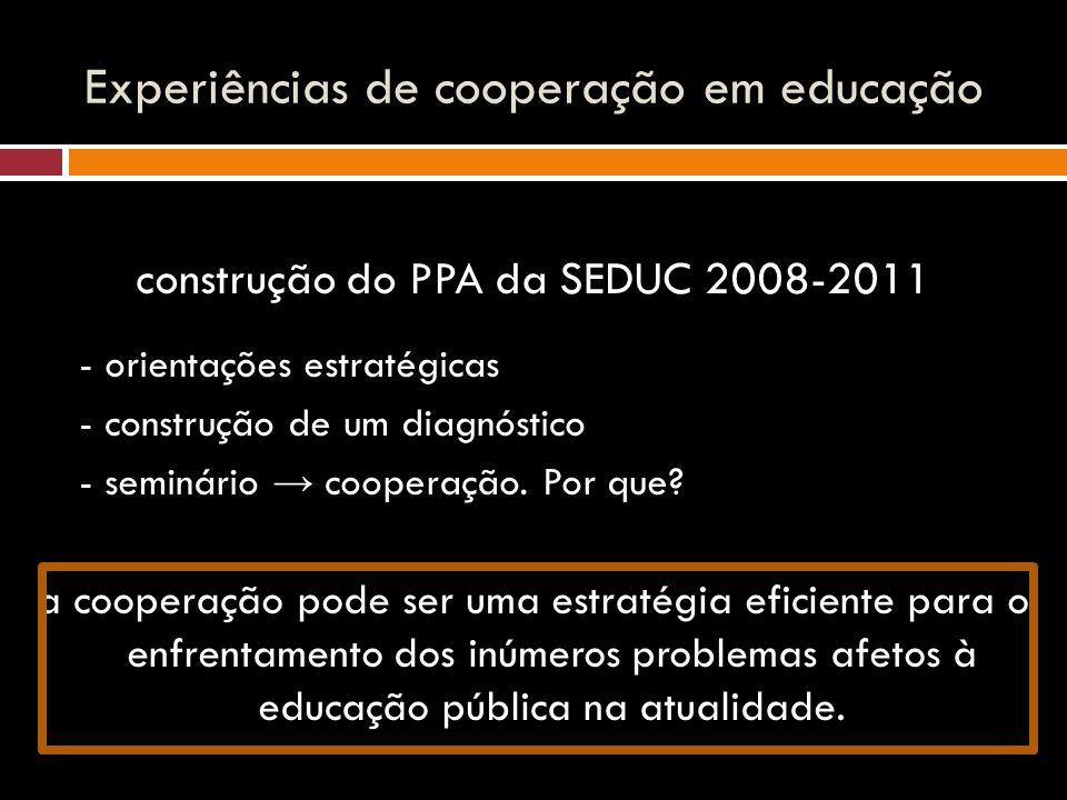 Experiências de cooperação em educação construção do PPA da SEDUC 2008-2011 - orientações estratégicas - construção de um diagnóstico - seminário → cooperação.