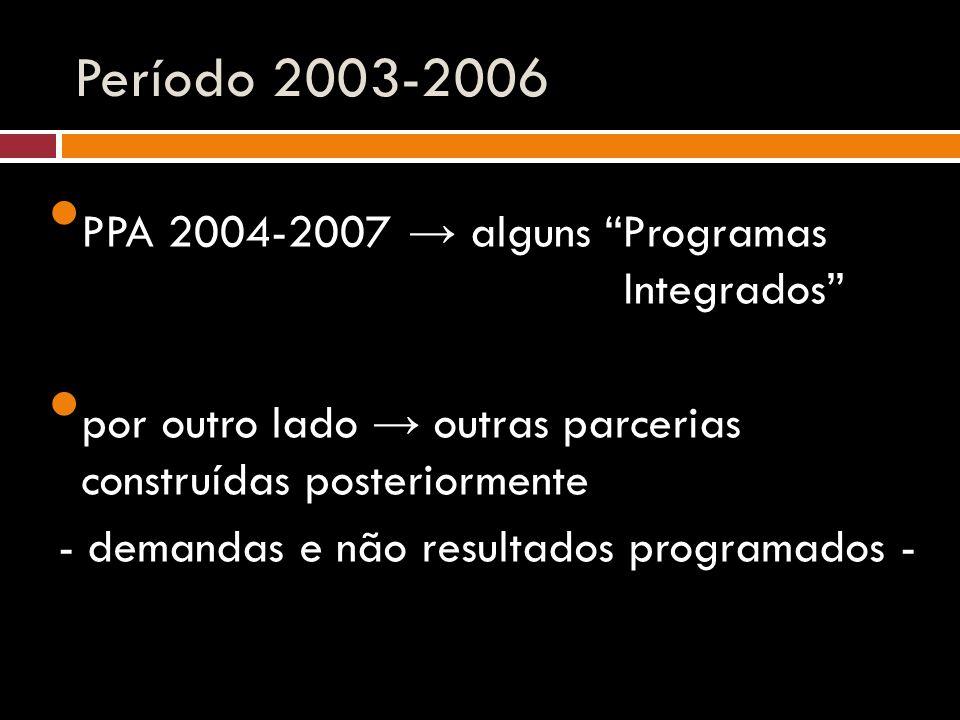 """Período 2003-2006 PPA 2004-2007 → alguns """"Programas Integrados"""" por outro lado → outras parcerias construídas posteriormente - demandas e não resultad"""