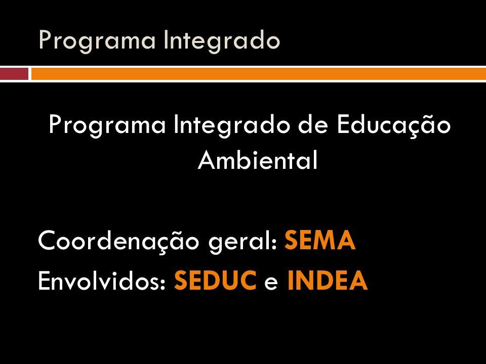 Programa Integrado Programa Integrado de Educação Ambiental Coordenação geral: SEMA Envolvidos: SEDUC e INDEA