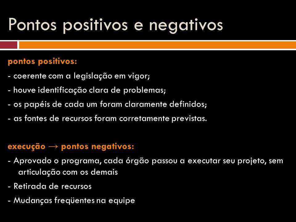 Pontos positivos e negativos pontos positivos: - coerente com a legislação em vigor; - houve identificação clara de problemas; - os papéis de cada um